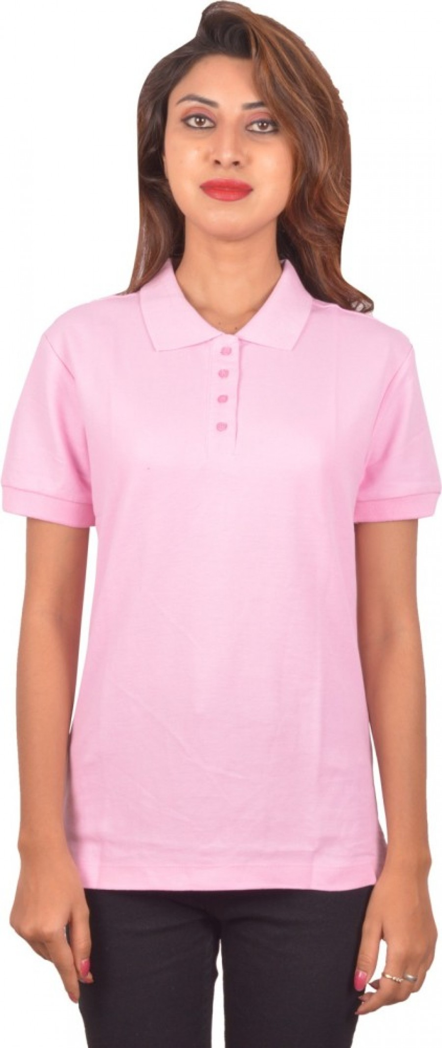 Buy Blueash Self Design Women Polo Neck Pink T Shirt Online