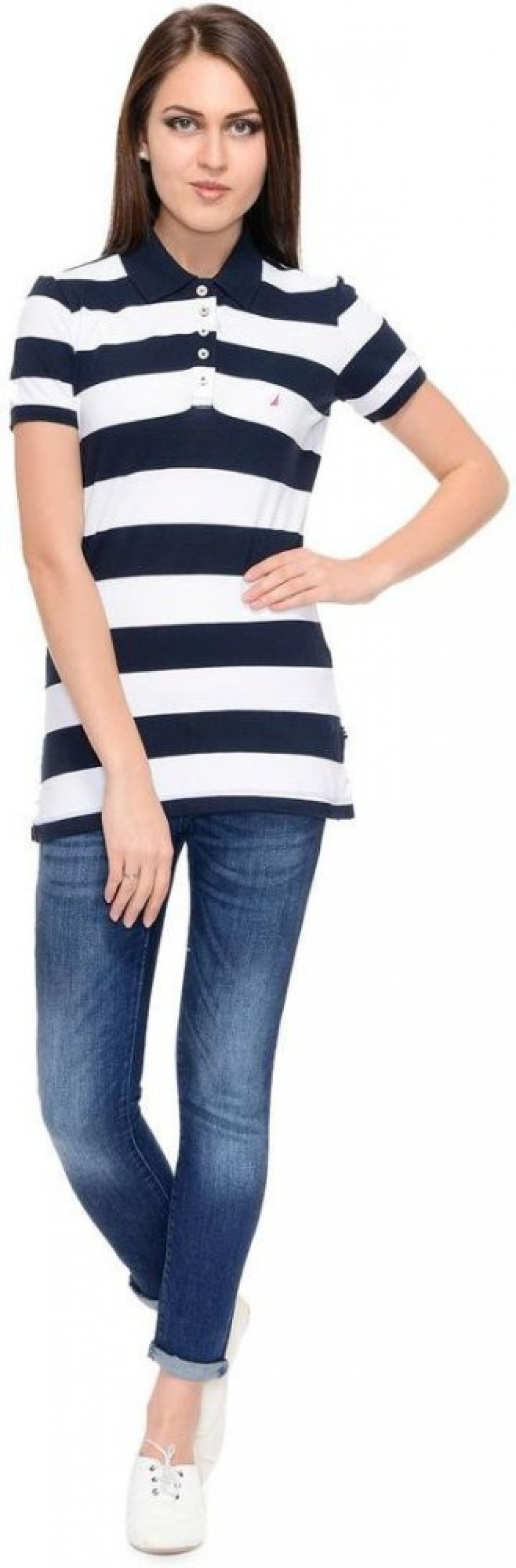Buy Nautica Striped Women Polo Neck Blue T Shirt Online