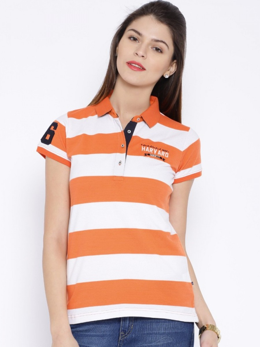 Buy Harvard Striped Women Polo Neck Orange T Shirt Online