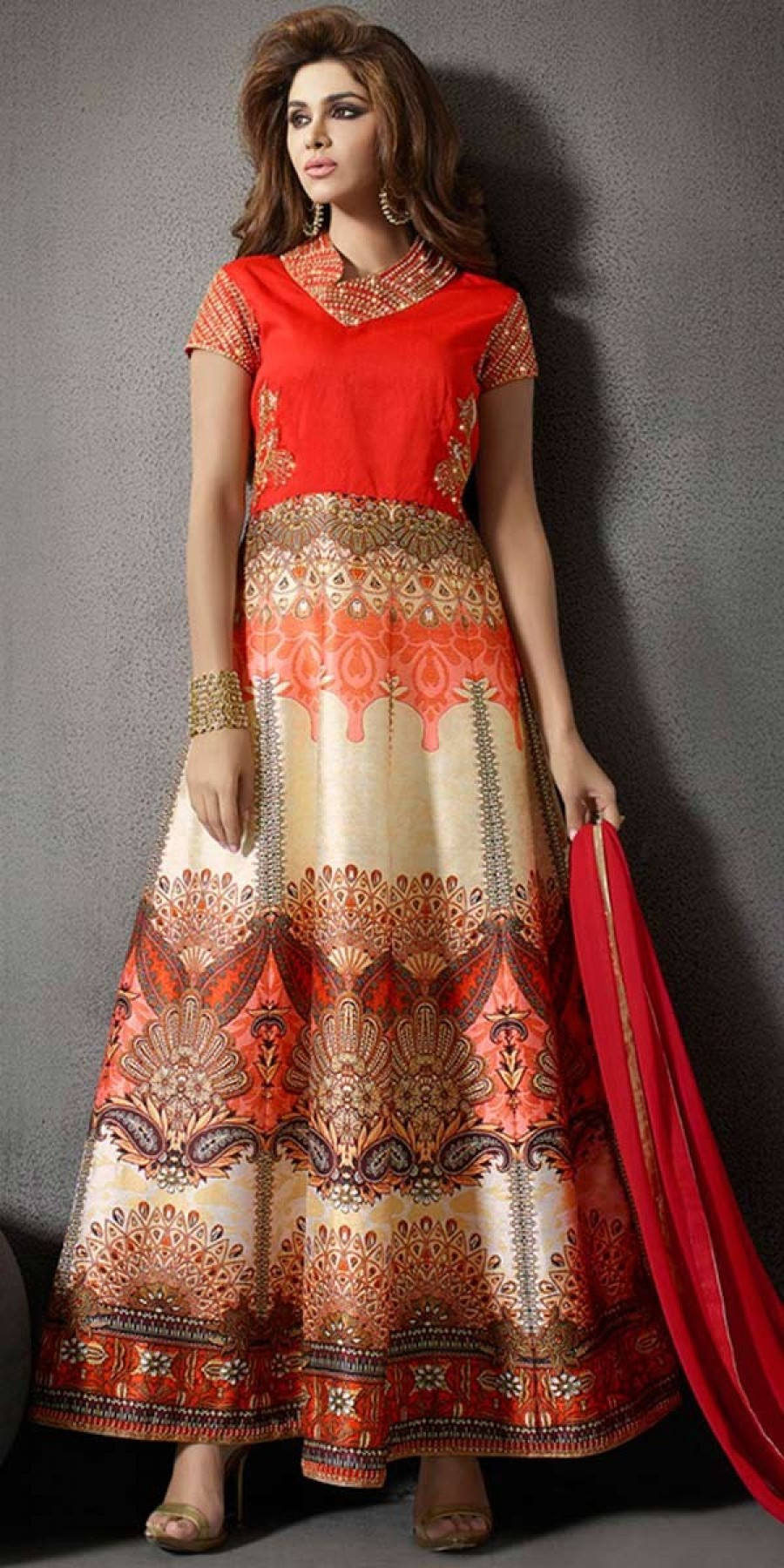 a3946e8505 Buy Elegant Beige And Red Silk Anarkali Suit With Chiffon Dupatta. Online