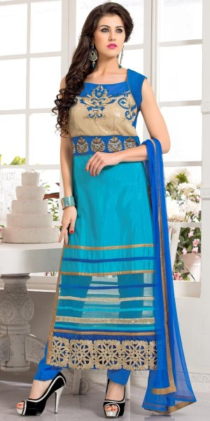 Buy Blissful Blue Silk Straight Cut Suit With Dupatta. Online