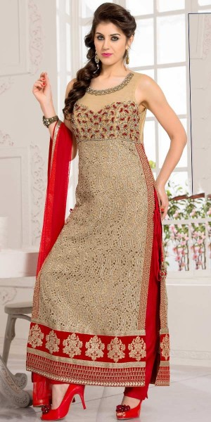 Buy Blissful Beige And Red Net Straight Cut Suit With Dupatta. Online