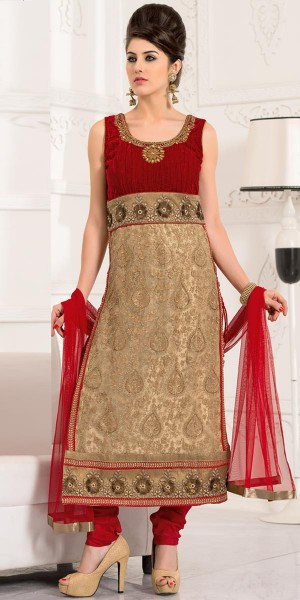 Buy Wondrous Beige And Red Net Straight Cut Suit With Dupatta. Online