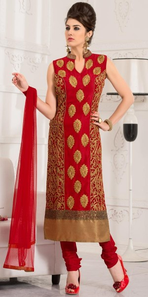 Buy Sensational Red Silk Straight Cut Suit With Dupatta. Online
