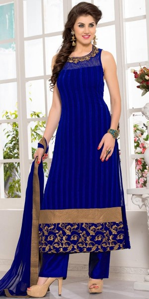 Buy Adorning Navy Blue Georgette Straight Cut Suit With Dupatta. Online