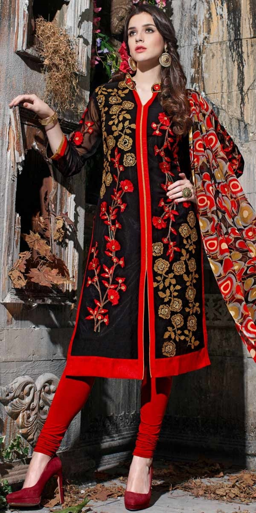 Buy Lovable Red And Black Georgette Salwar Suit With Dupatta. Online