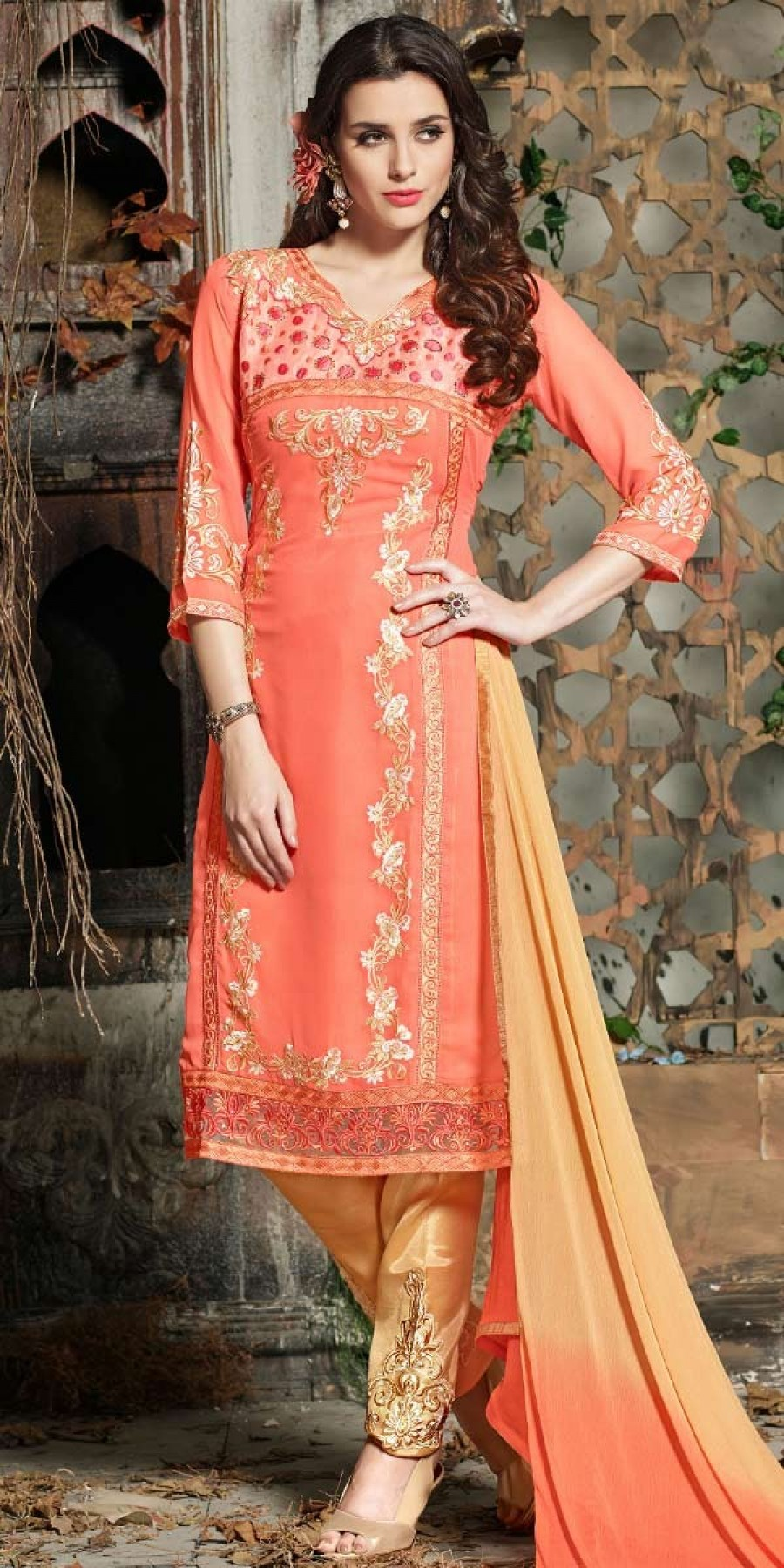 Buy Awesome Orange And Cream Georgette Salwar Suit With Dupatta. Online