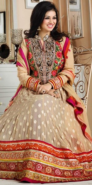 Buy Ayesha Takia Cream And Red Georgette Designer Anarkali Suit With Dupatta. Online