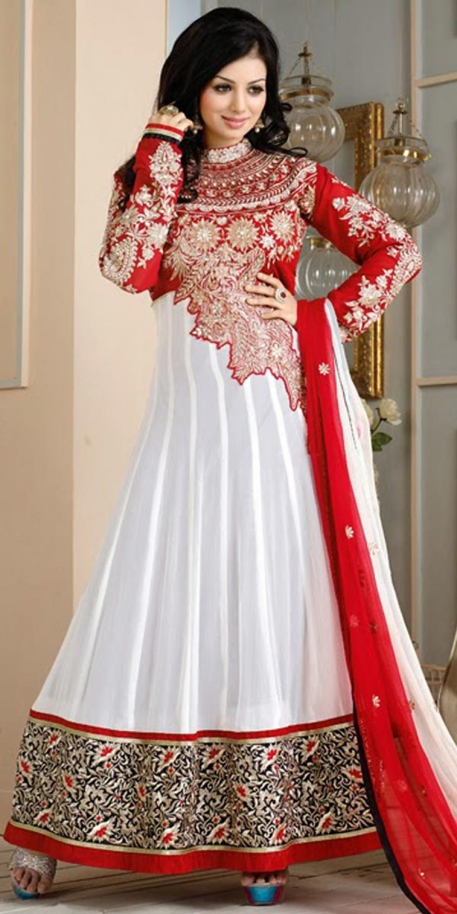 Buy Ayesha Takia Black And Red Georgette Designer Anarkali Suit With Dupatta. Online