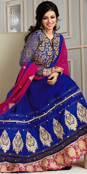 Buy Ayesha Takia Navy Blue And Pink Georgette Designer Anarkali Suit With Dupatta. Online