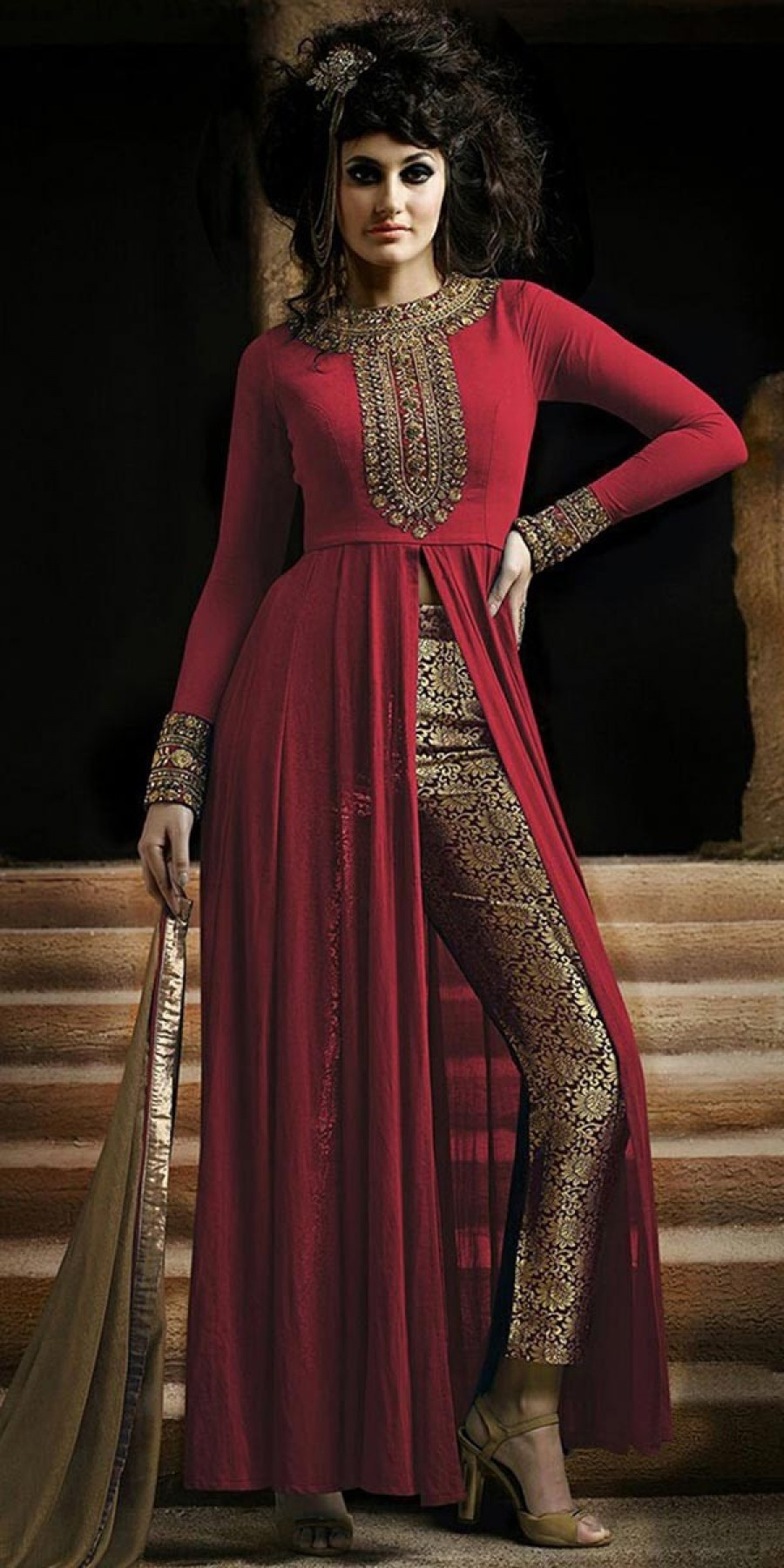 Buy Stunning Red And Beige Georgette Salwar Suit With Dupatta Online