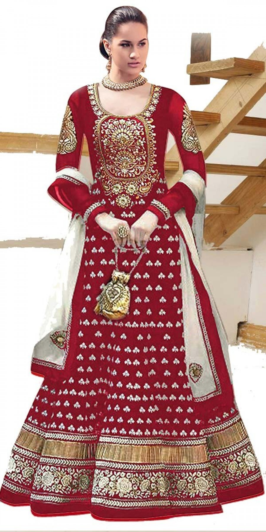 Buy Ethnic Maroon And Off-White Georgette Designer Anarkali Suit With Dupatta Online