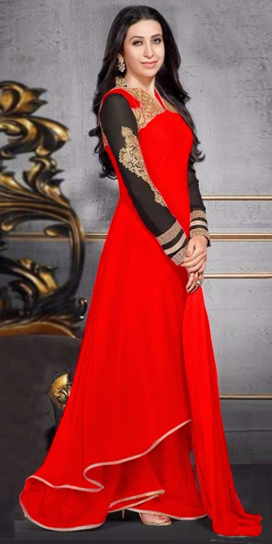 Buy Amazing Red And Black Georgette Designer Anarkali Suit With Dupatta Online