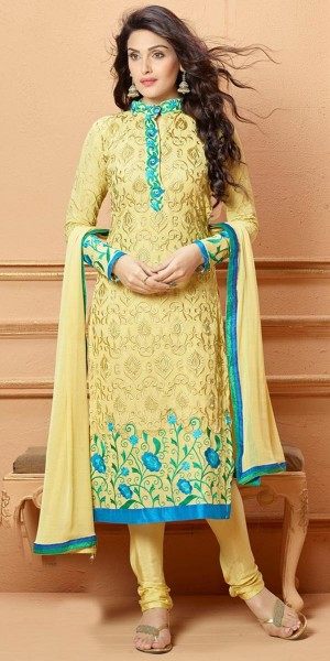Buy Glorious Light Yellow Georgette Salwar Suit With Dupatta Online