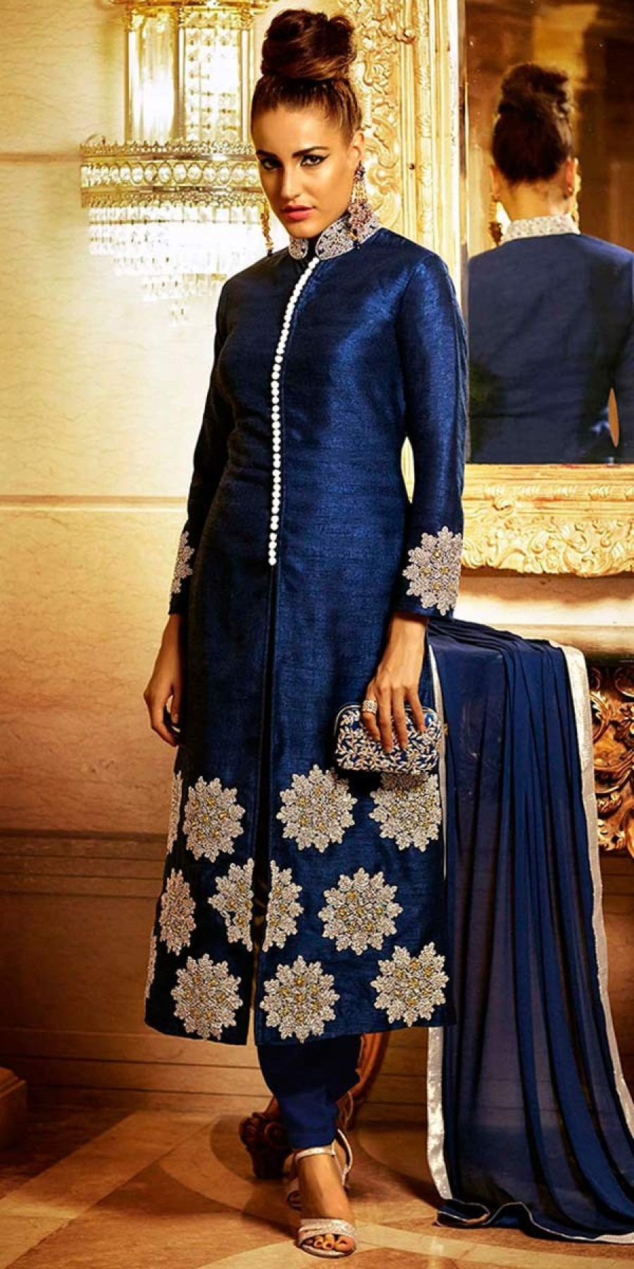 Buy Vibrant Navy Blue Bhagalpuri Silk Salwar Suit With Dupatta Online