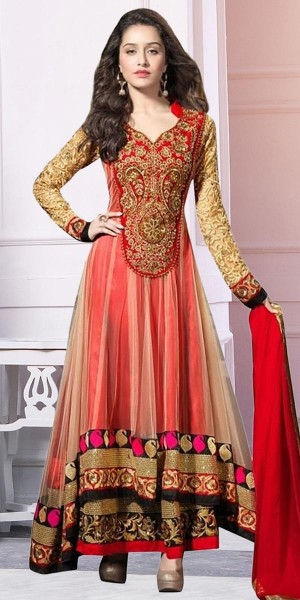 Buy Fancy Red And Beige Net Designer Anarkali Suit With Dupatta Online