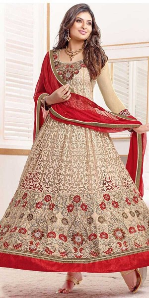 Buy Awesome Beige And Red Georgette Designer Anarkali Suit With Dupatta Online