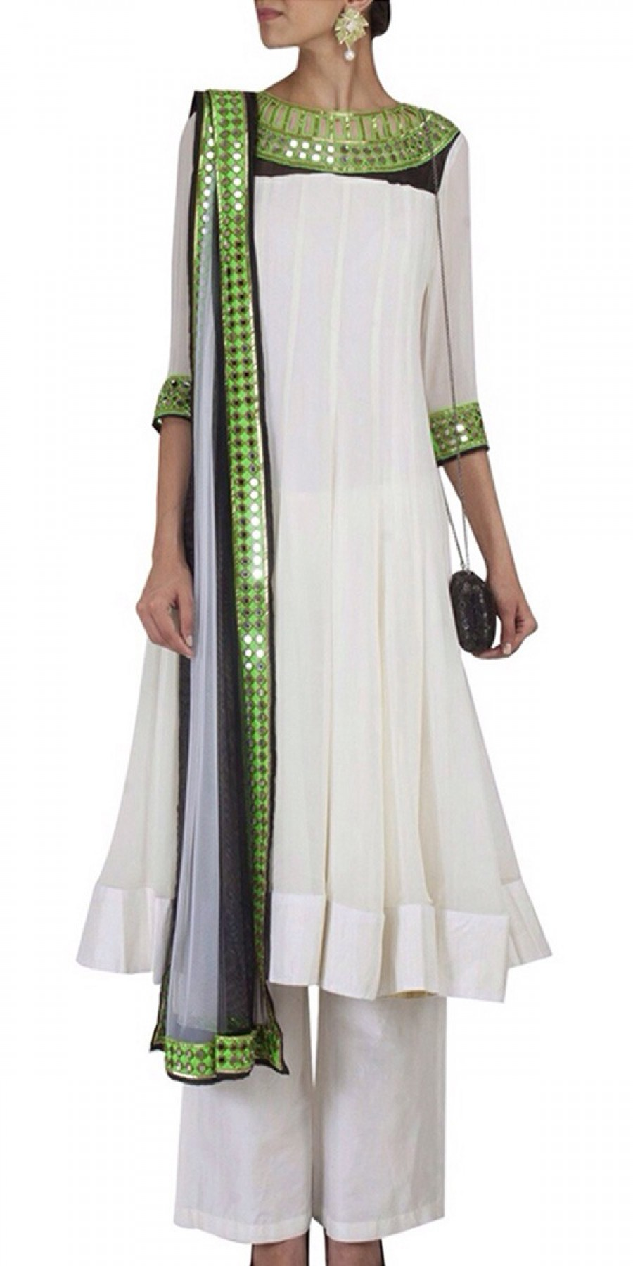 Buy Sizzling White And Green Net Designer Anarkali Suit With Dupatta Online