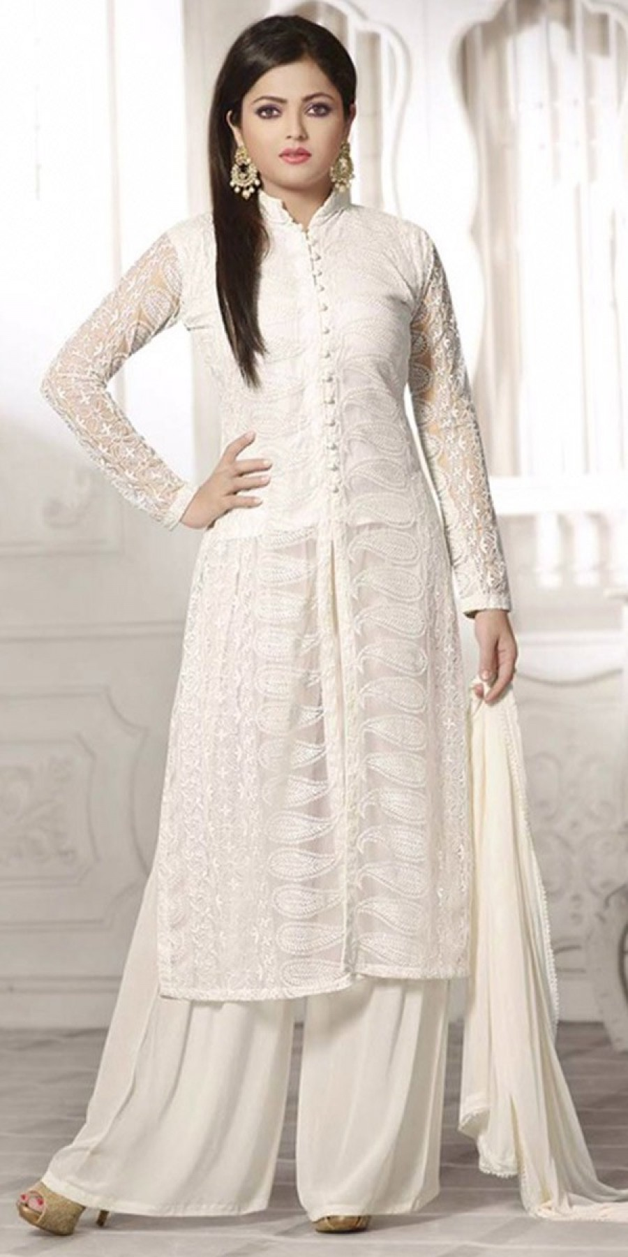 Buy Beautiful White Georgette Salwar Suit With Dupatta Online