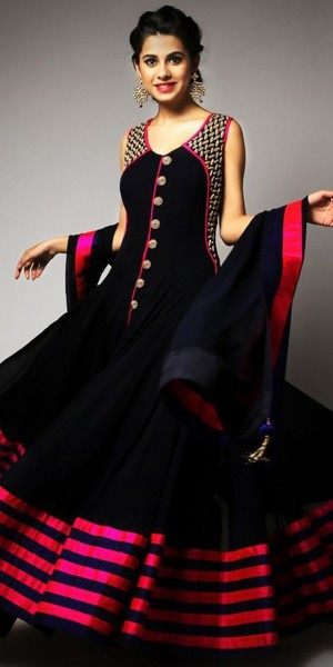 Buy Classy Black And Pink Georgette Designer Anarkali Suit With Dupatta Online