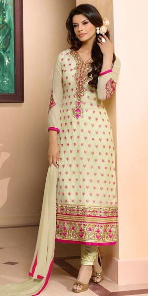 Buy Blossom Green And Pink Georgette Salwar Suit With Dupatta Online