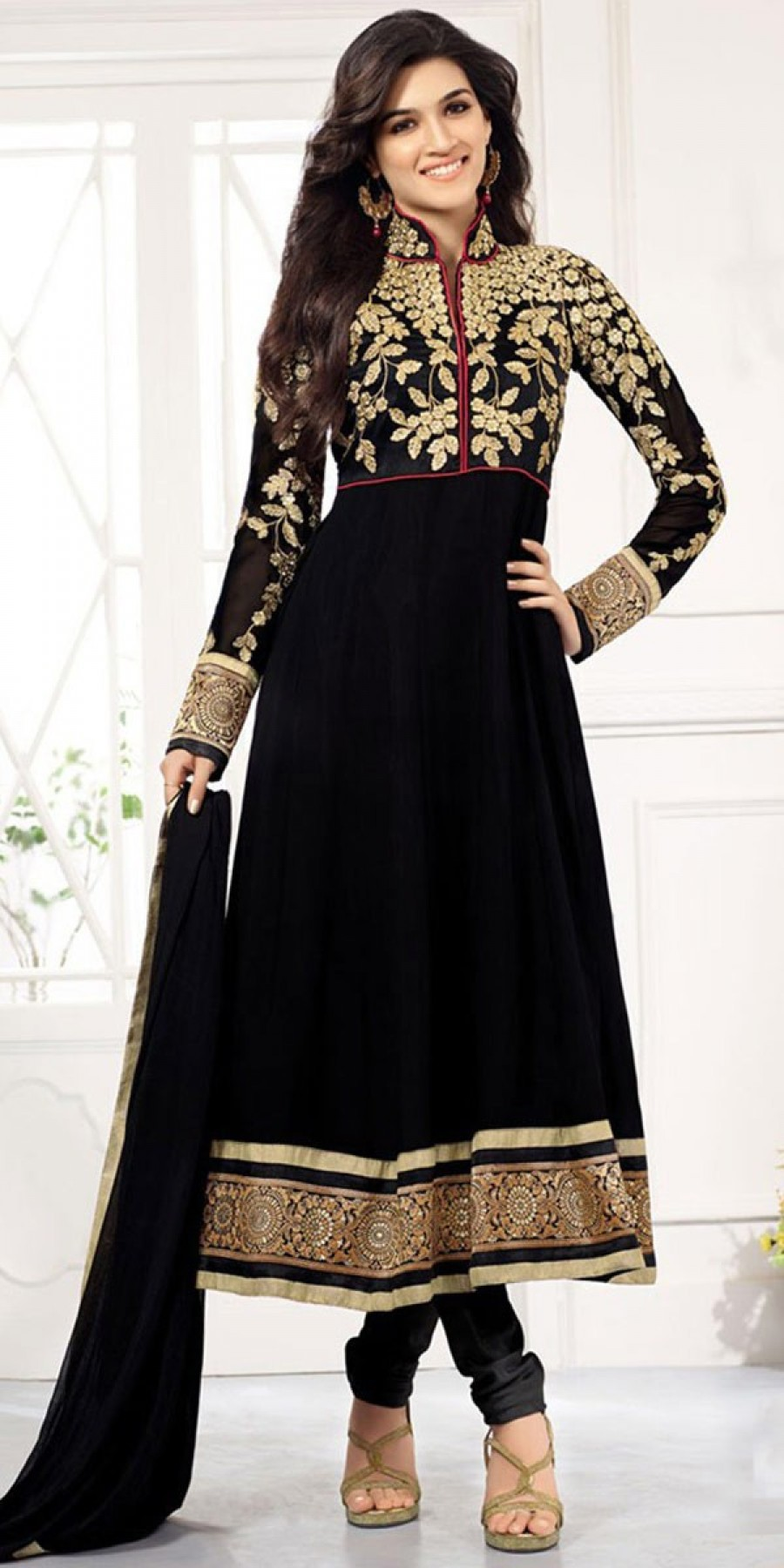 Buy Lovable Black Georgette Designer Anarkali Suit With Dupatta Online