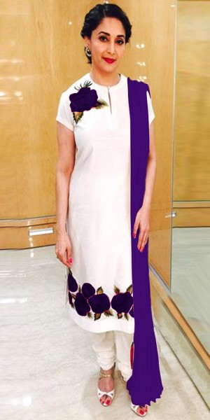 Buy Glorious White And Purple Cotton Salwar Suit With Dupatta Online