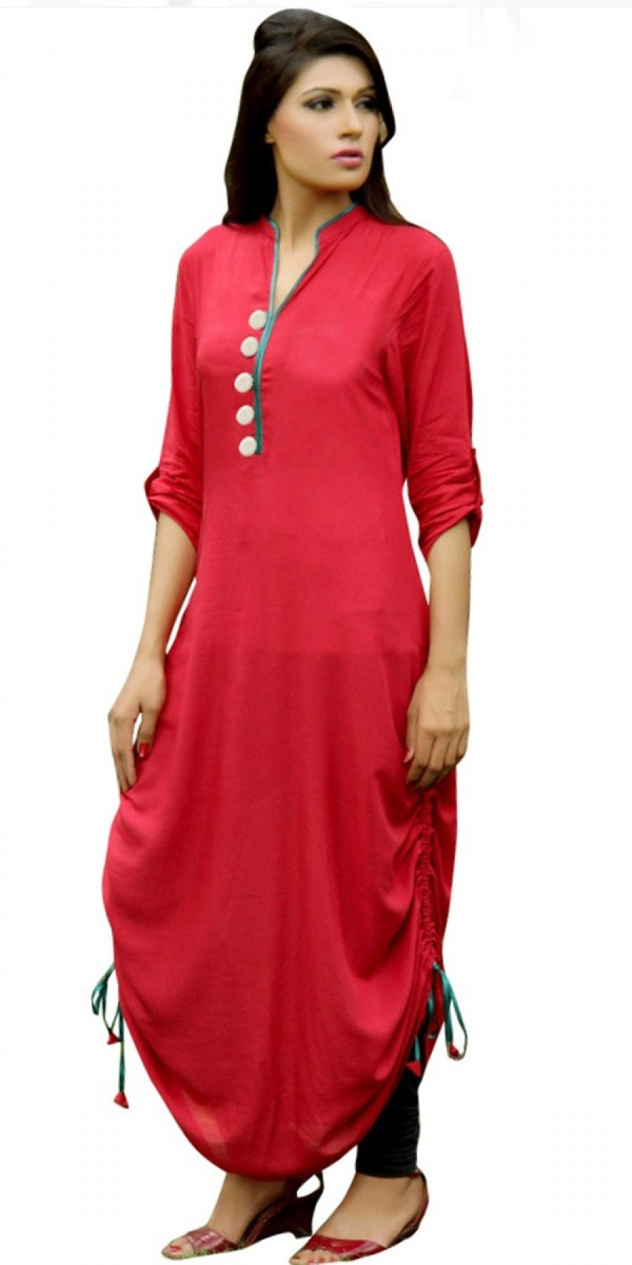 Buy Delicate Red Cotton Kurti. Online