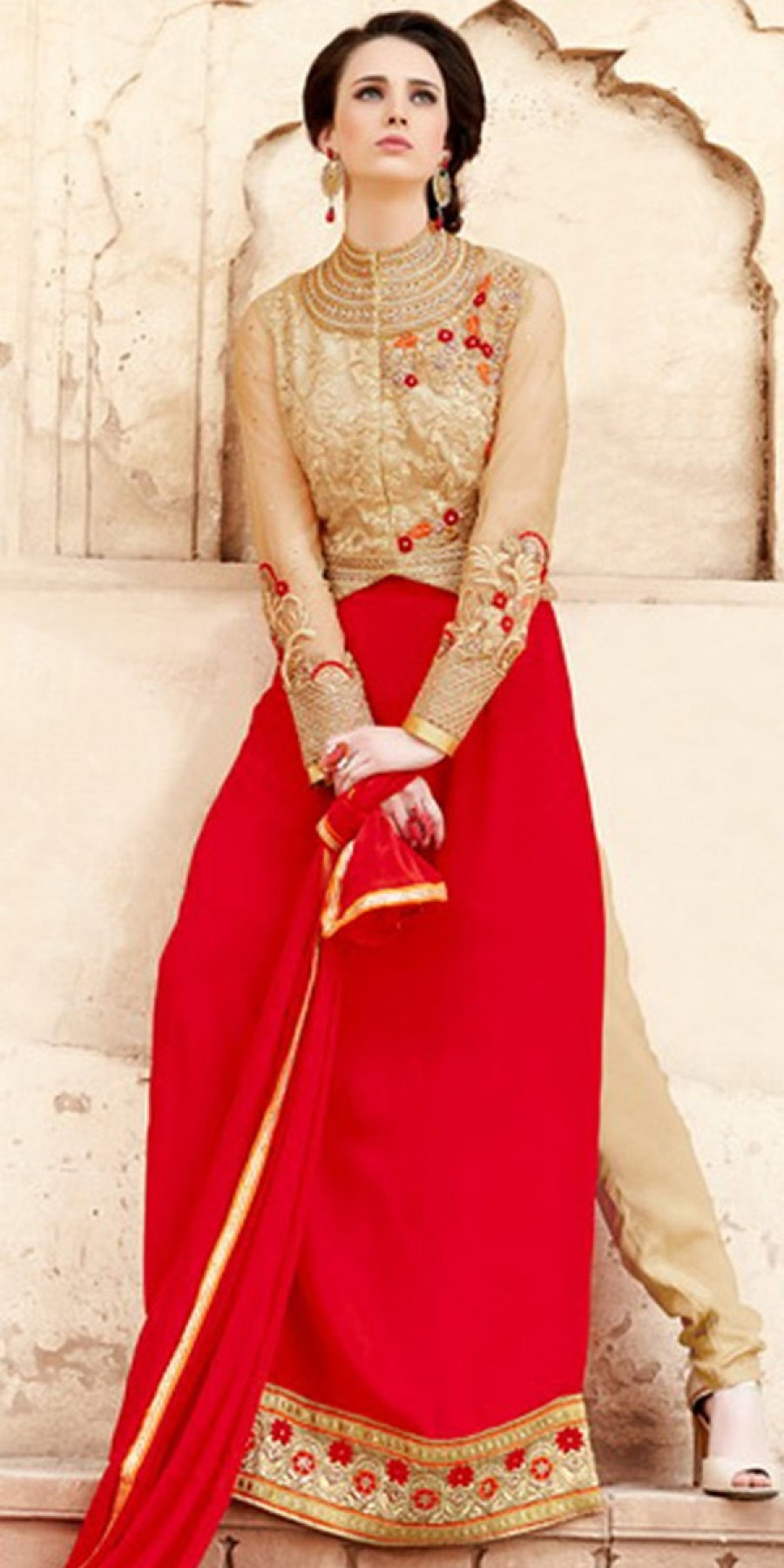 Buy Royal Red And Beige Color Georgette Salwar Kameez. Online