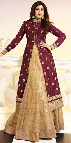 Buy Shilpa Shetty Lehenga Suit in Maroon And Beige Color. Online