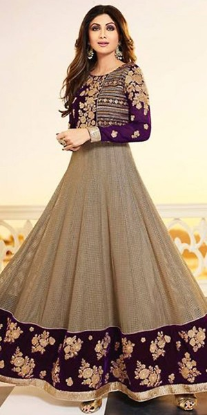 Buy Shilpa Shetty Anarkali Suit in Brown Color. Online