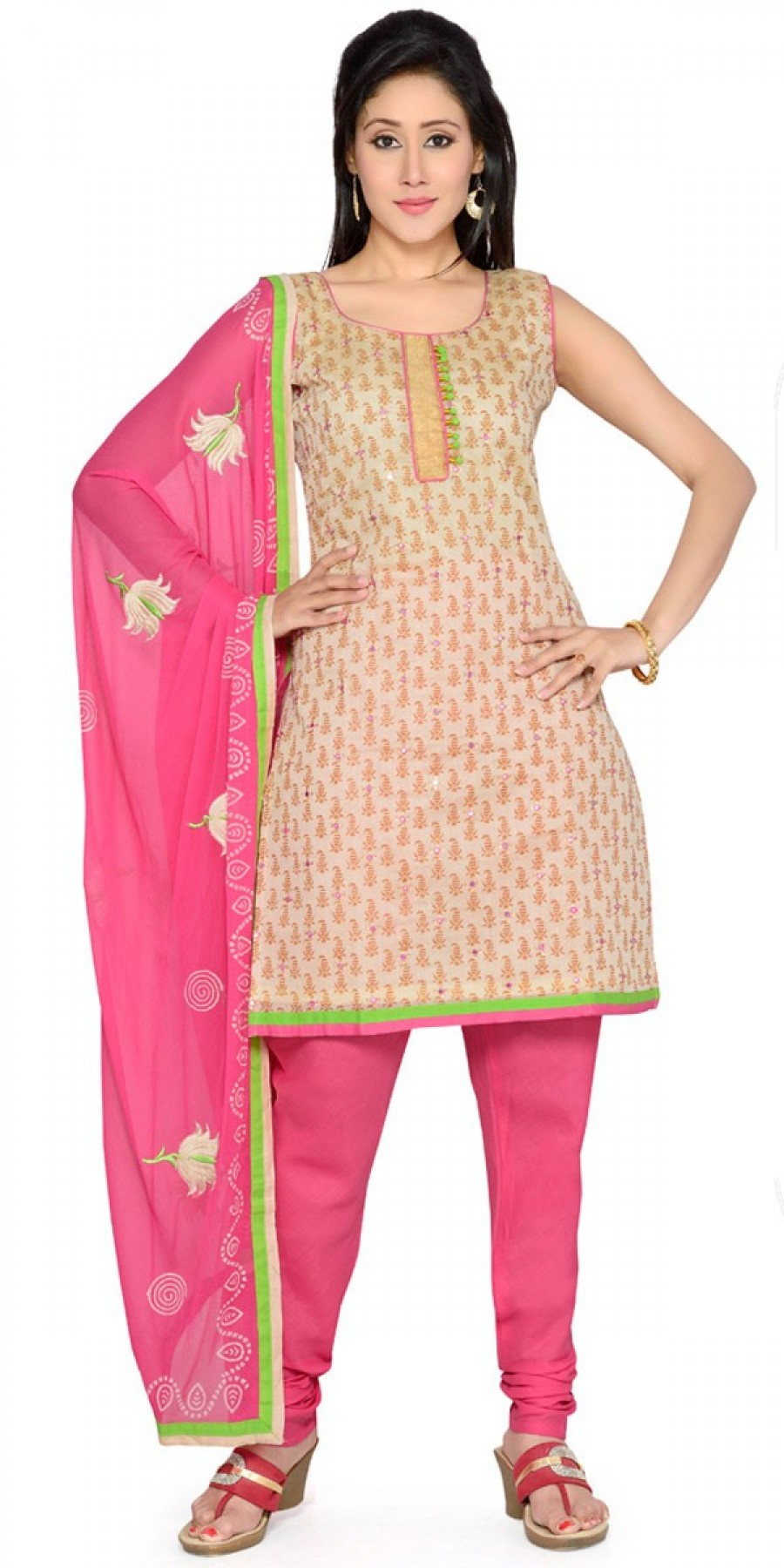 Buy Georgeous Pink And Cream Cotton Salwar Suit With Dupatta. Online