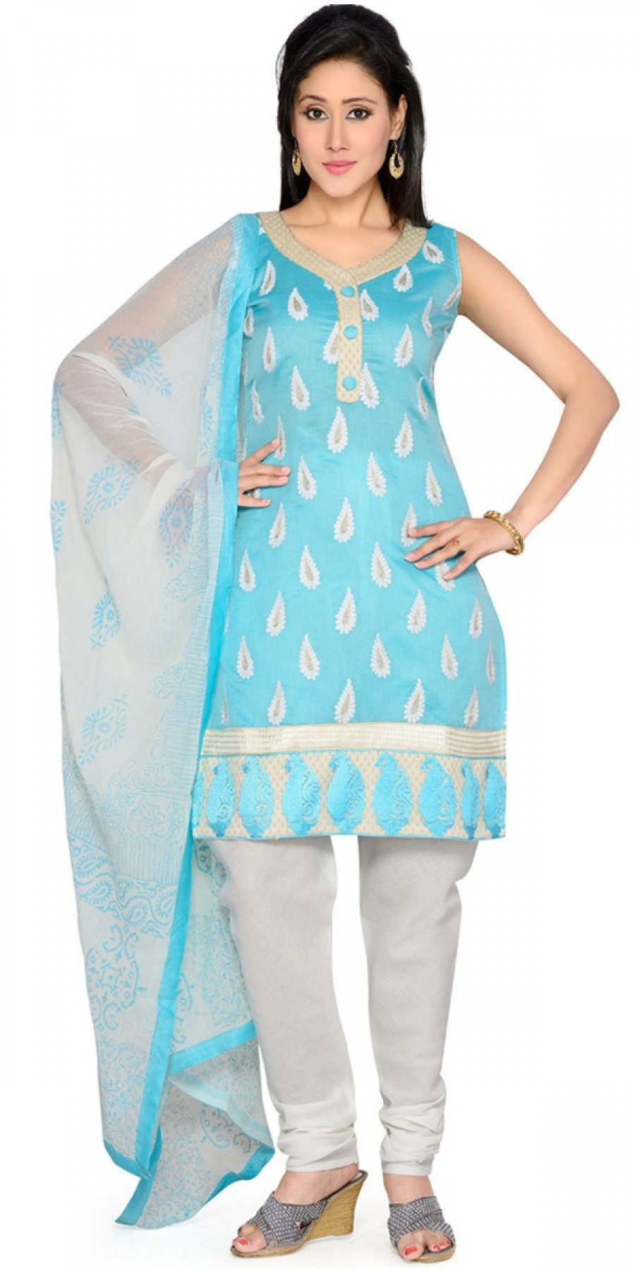 Buy Cheerful Blue And White Cotton Salwar Suit With Dupatta. Online