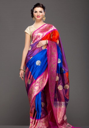 Buy Fuschia Pink and Purple Banarasi zari weave saree Online