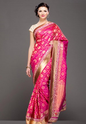 Buy Fuschia Pink floral gold zari embroidered banarasi silk saree Online