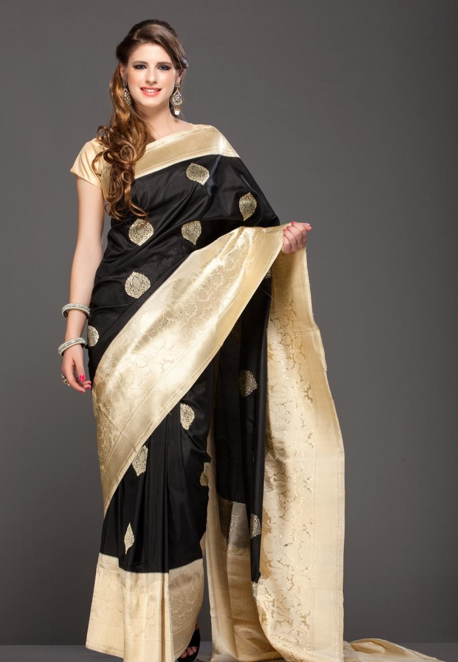 291e2dc61d Buy Black Hand Crafted Banarasi Zari Weave Pure Butter Silk Saree Online