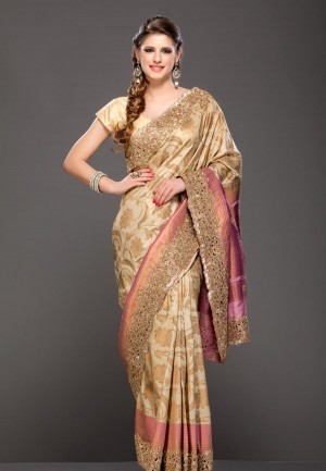 Buy Gold floral with gold zari border banarasi silk saree Online