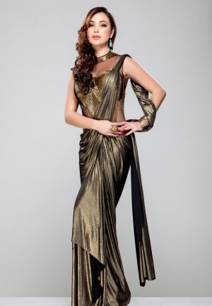 Buy Copper sheer base pre stiched saree Online