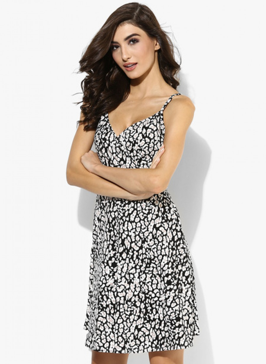 Buy Dorothy Perkins Black Animal Wrap Cami Dress Online