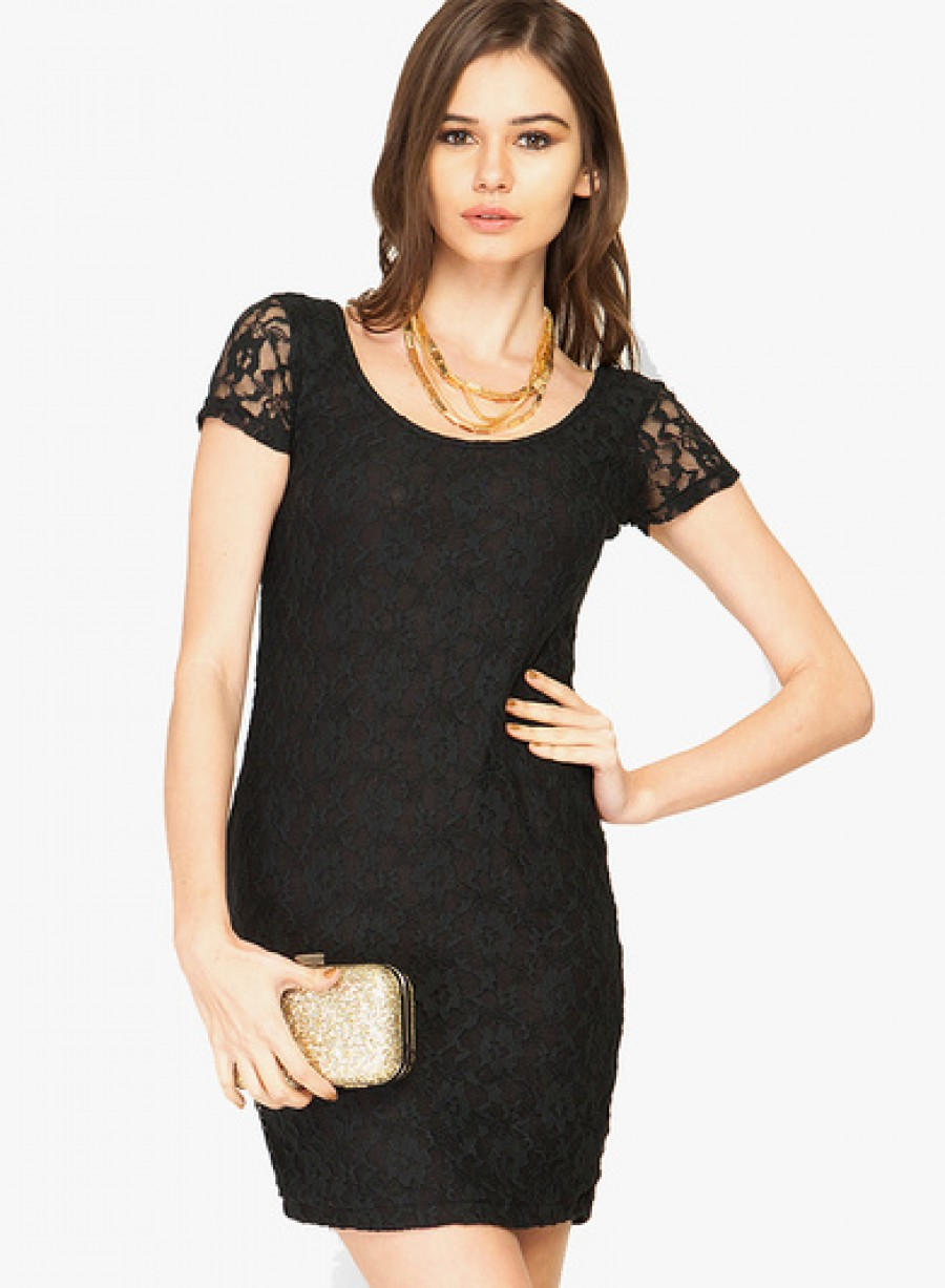 Buy Faballey Black Colored Embroidered Bodycon Dress Online
