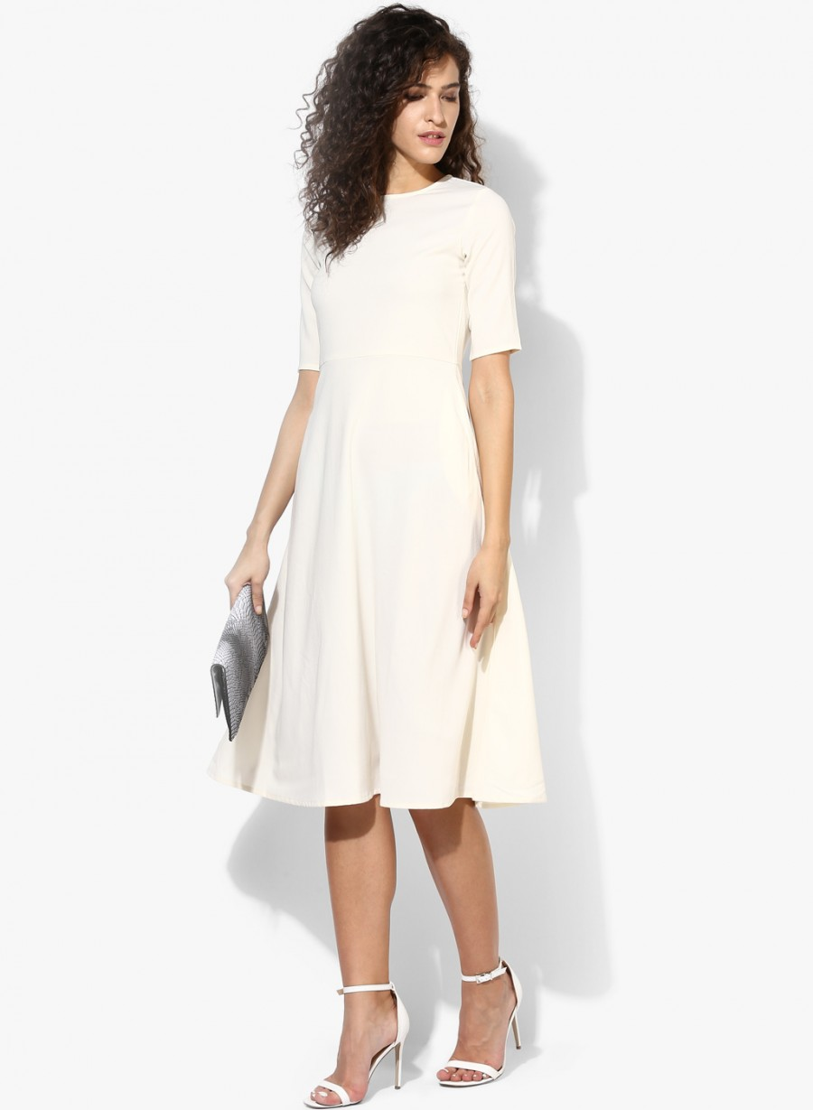 Buy Femella White Coloured Solid Shift Dress Online