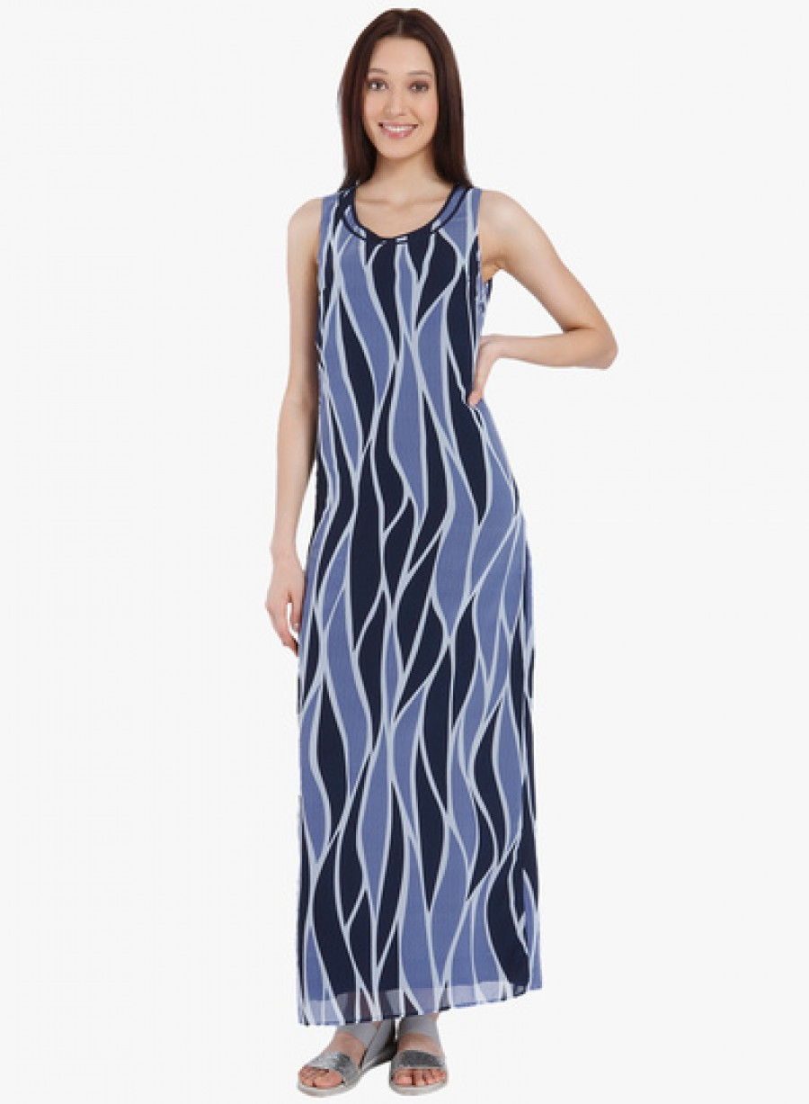 Buy Vero Moda Blue Coloured Printed Maxi Dress Online
