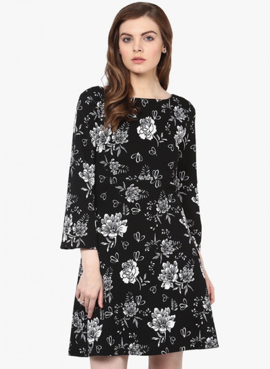 Buy Harpa Black Coloured Printed Shift Dress Online