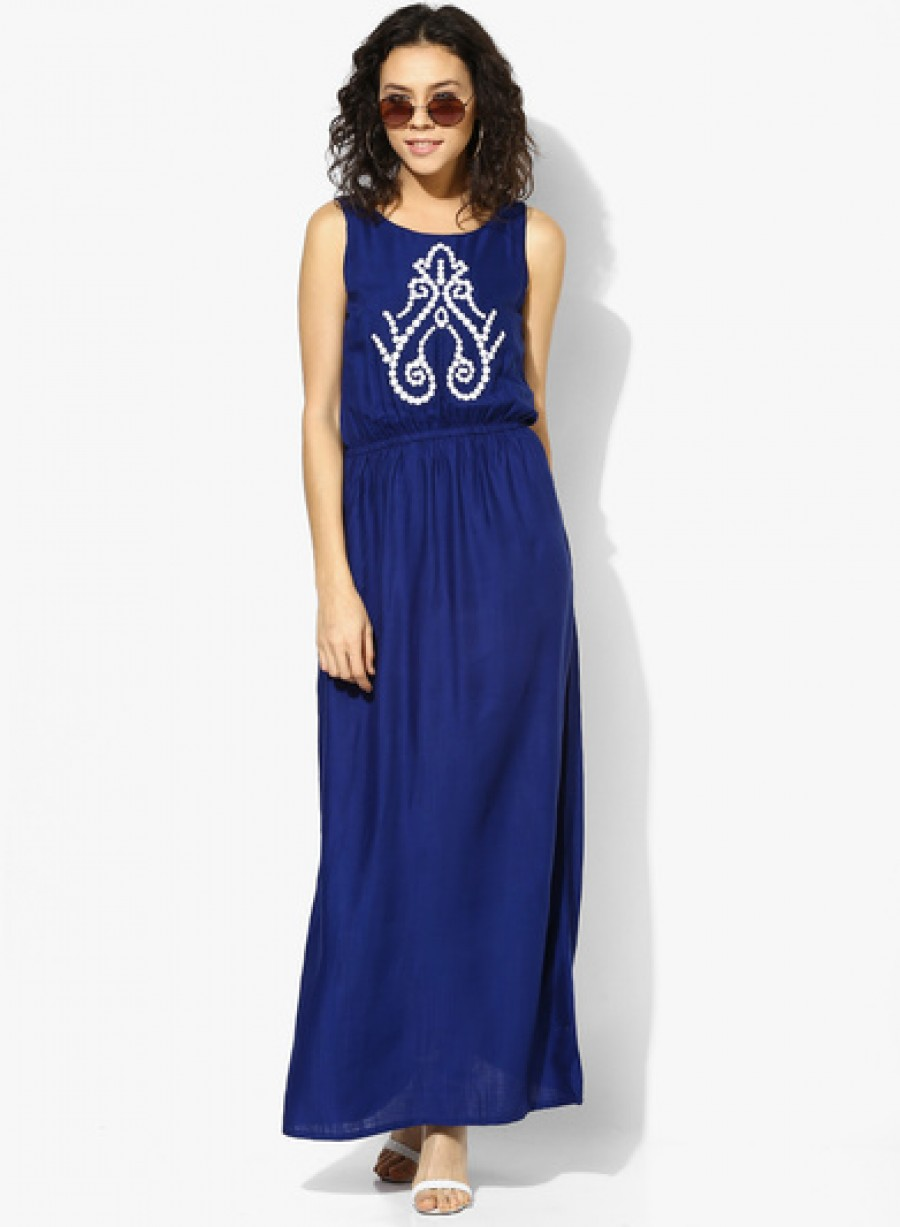 Buy Global Desi Blue Coloured Embroidered Maxi Dress Online