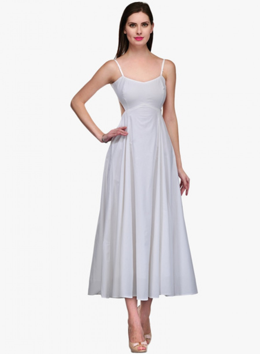Buy Neroxo White Coloured Solid Maxi Dress Online