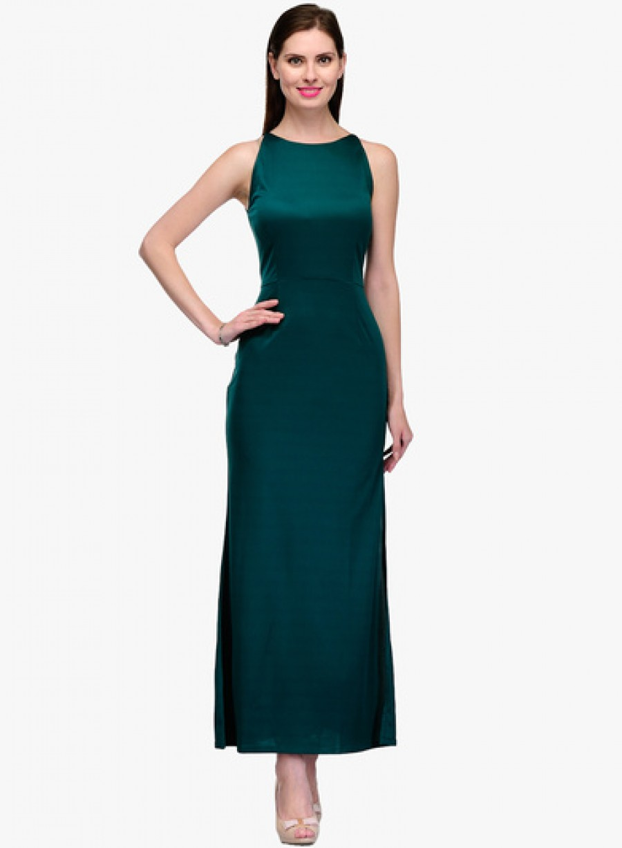 Buy Neroxo Green Coloured Solid Maxi Dress Online