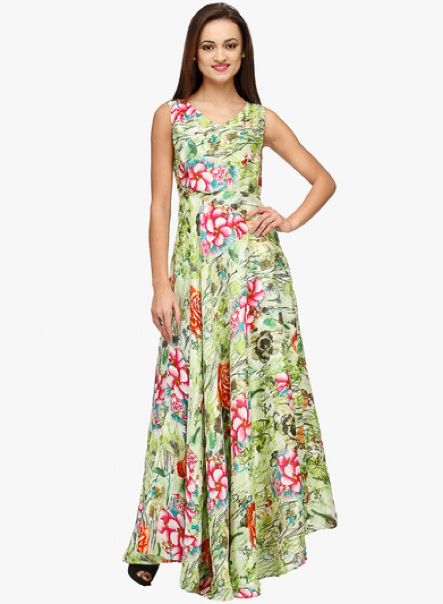 Buy Neroxo Green Coloured Printed Maxi Dress Online