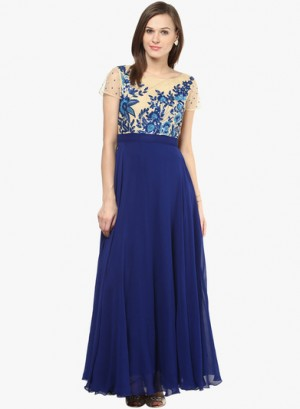 Buy Saanvi Blue Embroidered Maxi Dress Online