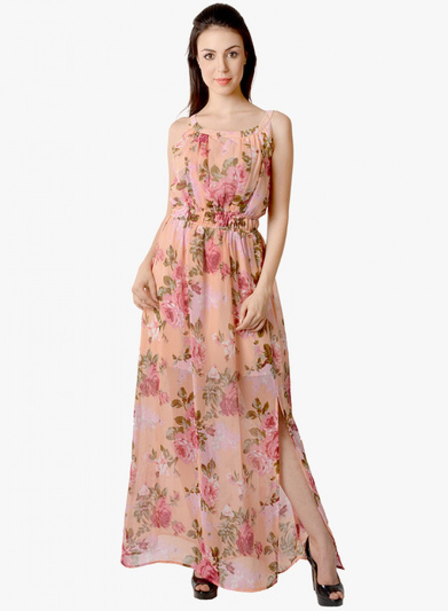 Buy Lemon Chillo Peach Printed Maxi Dress Online