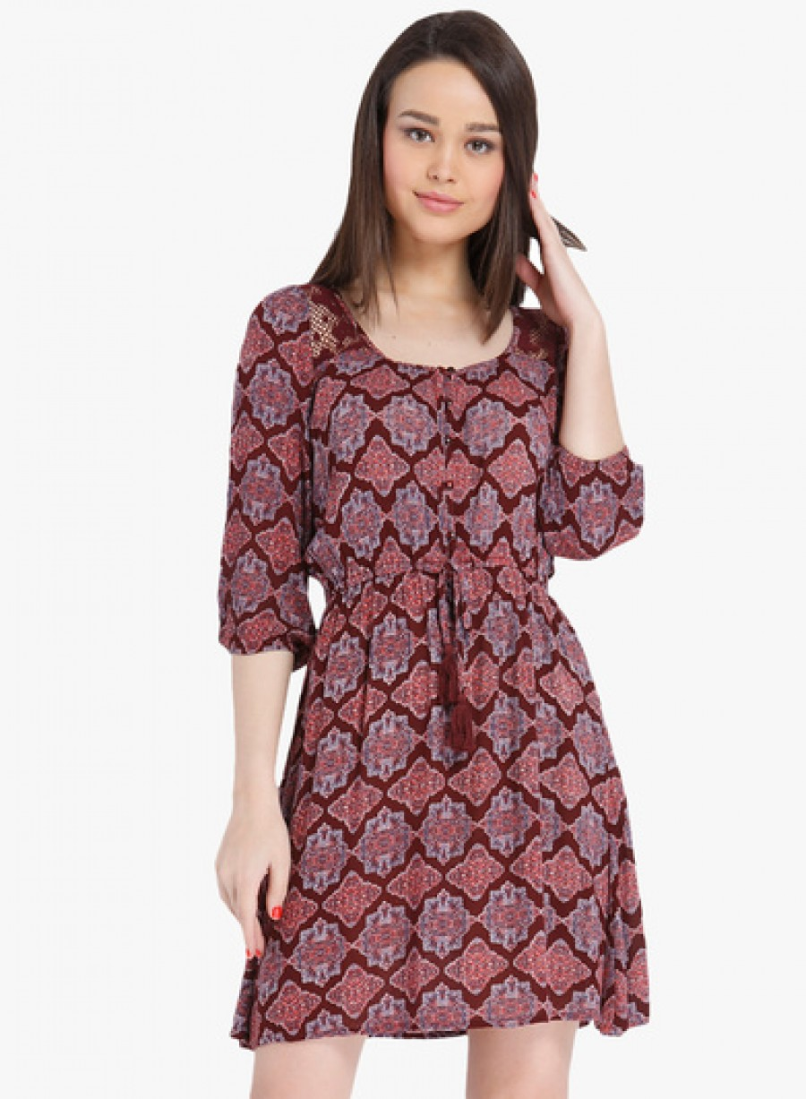 Buy Only Maroon Coloured Printed Skater Dress Online